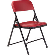 National Public Seating Plastic Folding Chair - Burgundy Seat/Black Frame - Pkg Qty 4