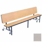 NPS 7' Mobile Convertible Bench Unit with Ganging & Plywood Top, Gray