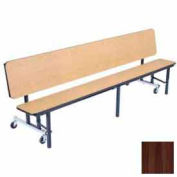 7' Mobile Convertible Bench Unit with Ganging & Plywood Top, Walnut
