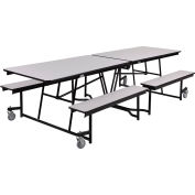 NPS® 10' Mobile Cafeteria Table with Benches - MDF - Gray Top/Black Frame