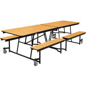 NPS® 10' Mobile Cafeteria Table with Benches - MDF - Oak Top/Black Frame
