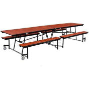 NPS® 12' Mobile Cafeteria Table with Fixed Bench Unit - Plywood Core Top/Protect-Edge, Cherry