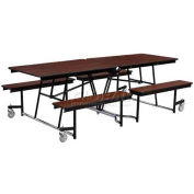 NPS® 12' Mobile Cafeteria Table with Fixed Bench Unit - Plywood Core Top/Protect-Edge, Walnut