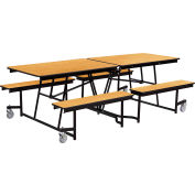 NPS® 8' Mobile Cafeteria Table with Benches - MDF - Oak Top/Black Frame