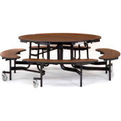 "NPS® 60"" Round Black Frame Foldable Cafeteria Table w/ Bench Units & Particleboard Top Maple"