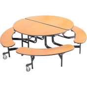 """NPS® 60"""" Round Foldable Cafeteria Table w/ Benches - MDF - Oak Top/Black Frame"""