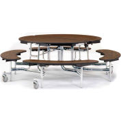 """NPS® 60"""" Round Chrome Foldable Cafeteria Table w/ Bench Units & Plywood Core Top Walnut"""