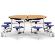 """NPS® 60"""" Round Chrome Cafeteria Table with 8 Stools Oak MDF Core Top/Red Stools"""