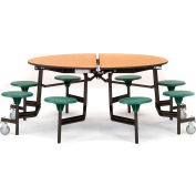 """NPS® 60"""" Round Black Cafeteria Table with 8 Stools Cherry Particleboard Core Top/Green Stools"""