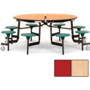 "NPS® 60"" Round Black Cafeteria Table with 8 Stools Maple Particleboard Core Top/Red Stools"