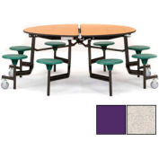 """NPS® 60"""" Round Black Cafeteria Table with 8 Stools Gray Particleboard Core Top/Purple Stools"""