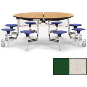 """NPS® 60"""" Round Chrome Cafeteria Table with 8 Stools Gray Plywood Core Top/Green Stools"""