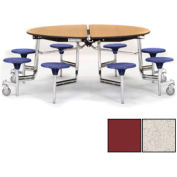 """NPS® 60"""" Round Chrome Cafeteria Table with 8 Stools Gray Plywood Core Top/Burgundy Stools"""