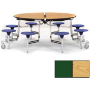 "NPS® 60"" Round Chrome Cafeteria Table with 8 Stools Oak Plywood Core Top/Red Stools"