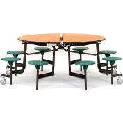 """NPS® 60"""" Round Black Cafeteria Table with 8 Stools Gray Plywood Core Top/Black Stools"""