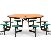"""NPS® 60"""" Round Black Cafeteria Table with 8 Stools Walnut Plywood Core Top/Burgundy Stools"""
