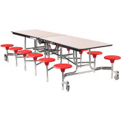 NPS® 10' Mobile Cafeteria Table with Stools - MDF - Gray Top/Red Stools/Chrome Frame