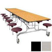 10' Mobile Cafeteria Stool Unit with Plywood Top, Gray Top/Black Stools