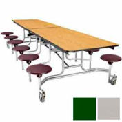 10' Mobile Cafeteria Stool Unit with Plywood Top, Gray Top/Green Stools