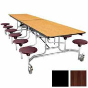 10' Mobile Cafeteria Stool Unit with Plywood Top, Walnut Top/Black Stools