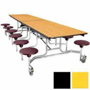 10' Mobile Cafeteria Stool Unit with Plywood Top, Yellow Top/Black Stools