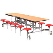 NPS® 10' Mobile Cafeteria Table with Stools - MDF - Oak Top/Red Stools/Chrome Frame