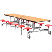 NPS® 12' Mobile Cafeteria Table with Stools - MDF -  Oak Top/Red Stools/Chrome Frame