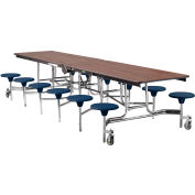 NPS® 12' Mobile Cafeteria Table with Stools - MDF -  Walnut Top/Blue Stools/Chrome Frame