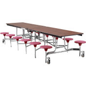 NPS® 12' Mobile Cafeteria Table with Stools - MDF -  Walnut Top/Burgundy Stools/Chrome Frame