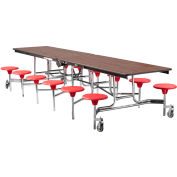 NPS® 12' Mobile Cafeteria Table with Stools - MDF -  Walnut Top/Red Stools/Chrome Frame