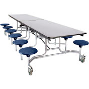 NPS® 12' Mobile Cafeteria Table with Stools - MDF -  Gray Top/Blue Stools/Chrome Frame