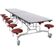 NPS® 12' Mobile Cafeteria Table with Stools - MDF -  Gray Top/Burgundy Stools/Chrome Frame