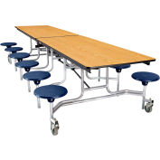 NPS® 12' Mobile Cafeteria Table with Stools - MDF -  Oak Top/Blue Stools/Chrome Frame