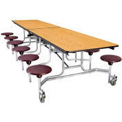 NPS® 12' Mobile Cafeteria Table with Stools - MDF -  Oak Top/Burgundy Stools/Chrome Frame