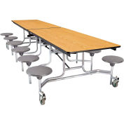 NPS® 12' Mobile Cafeteria Table with Stools - MDF -  Oak Top/Gray Stools/Chrome Frame