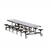 NPS® Black 12' Rectangle Cafeteria Table with 12 Stools Gray MDF Core Top/Black Stools