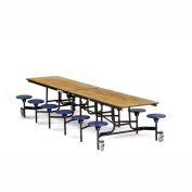 NPS® Black 12' Rectangle Cafeteria Table with 12 Stools Oak MDF Core Top/Blue Stools