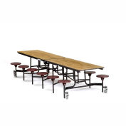 NPS® Black 12' Rectangle Cafeteria Table with 12 Stools Oak MDF Core Top/Burgundy Stools