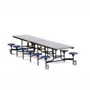 NPS® Black 12' Rectangle Cafeteria Table with 12 Stools Gray Particleboard Core Top/Blue Stools