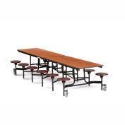 NPS® Black 12' Rectangle Cafeteria Table with 12 Stools Cherry Plywood Core Top/Burgundy Stools