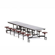 NPS® 12' Cafeteria Table with Stools - Gray Plywood Core Top/Burgundy Stools