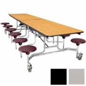 NPS 12' Mobile Cafeteria Table with Stools - Plywood - Gray Top/Black Stools