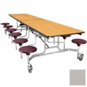 12' Mobile Cafeteria Stool Unit with Plywood Top, Gray Top/Gray Stools