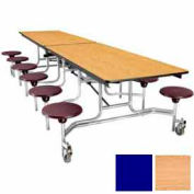 12' Mobile Cafeteria Table with Stool & Plywood Top, Light Oak Top/Blue Stools