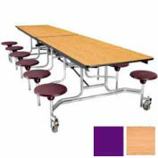 12' Mobile Cafeteria Table with Stool & Plywood Top, Light Oak Top/Purple Stools