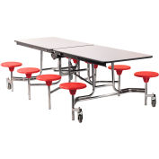 NPS® 8' Mobile Cafeteria Table with Stools - MDF - Gray Top/Red Stools/Chrome Frame