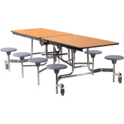 NPS® 8' Mobile Cafeteria Table with Stools - MDF - Oak Top/Gray Stools/Chrome Frame