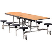 NPS® 8' Mobile Cafeteria Table with Stools - MDF - Oak Top/Black Stools/Chrome Frame