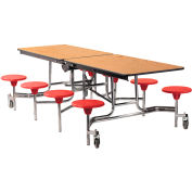 NPS® 8' Mobile Cafeteria Table with Stools - MDF - Oak Top/Red Stools/Chrome Frame