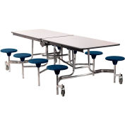 NPS® 8' Mobile Cafeteria Table with Stools - MDF - Walnut Top/Blue Stools/Chrome Frame
